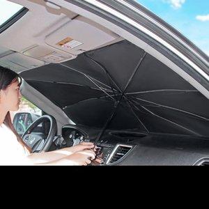 Автомобильный солнцезащитный оттенок для лобового стекла Складные зонтики на солнечных вентиляторах для автомобиля Переднее лобовое стекло, Легко хранить Защитить автомобиль из УФ-солнца и тепла Подходит для ветровых стеклов различных размеров