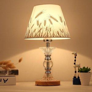 Modern Simple Linen Lampshade Study Bedroom Bedside Lamp Desk European Fashion LED Crystal Table E27 Lamps