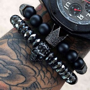 Mens Zircon pour McLlroy Couronne CZ Hommes / Crâne / Acier / Pierre / Perles / Luxe / Bracelets Bracelet homme Homme bijoux Valent2T9C