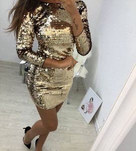 dress Long sleeve sequin bodycon neck prom kim kardashian with sequins and buttocks in nightclub SEXY DRESSES FOR WOMEN
