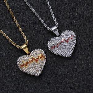 hip hop heart-shaped pendant necklaces for men women luxury designer mens diamond gold chain necklace jewelry love gift