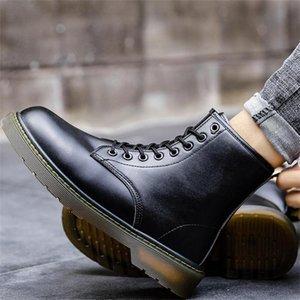 Обувь осень и зима британский стиль высокое кожаное кружево густые азил молодежные моды волков сапоги короткие мужчины 56qu