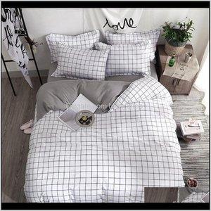 Sets Bedding Set Fashion Duvet Cover Bed Sheet Pillowcase Square Stripes Home Textile Black White Gray Combination Bedclothes F6Gq1 Nmgau