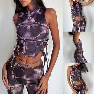 Backless Sleeveless Tie-Dye Irregular Sexy Lace Up Top Summer Women Fashion Club Outfit Women's T-Shirt