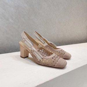 Solillas planas de malla hueca Patrón de ratán Sandalias de bordado Exquisitos elegantes zapatos de mujer suave y transpirable tacones altos bombas