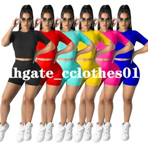summer Womens tracksuits sleeveless outfits 2 piece set yoga shirt shorts jogging sportsuit sportswear sweatshirt tights D313