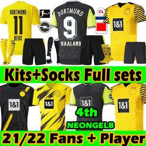 Adult+Kids Kits+Socks Full sets 21 22 dortmund Soccer Jerseys Special Fans Player Version 2021 HAALAND REUS SANCHO REYNA BELLINGHAM HUMMELS BRANDT football jersey