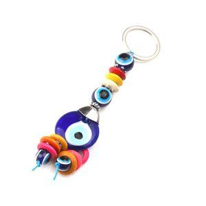 1pc Colorful Charms Evil Eye Llavero Llavero Coche Llavero Espaciadores Beads Tassel Ring Lucky para hombres Mujeres Llaveros
