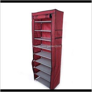 Holders 10Layers 9 Lattices Nonwoven Fabric Rack Fashionable Roomsaving With Dustproof Cover Shelf Storage Shoe Racks Wine Red 7Um8U Sw7Eo