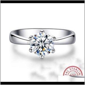 JewelryFemale Solitaire Laboratório Diamante Real 925 Sier Sier anel de noivado Anéis de casamento vintage para mulheres entrega 2021 Nih3J