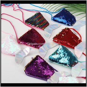 Storage Bags Sequined Coin Purse Sequins Mermaid Tail Crossbody Fanny Pack Cartoon Chest Waist Bag Kids Baby Girls Wallet Christmas Gi Ljyrt
