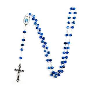 Catholic Rosary Small Size Round Glass Beads Virgin Mary Jesus Necklace Men Women1