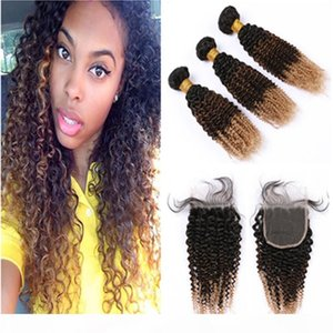 Kinky Curly #1B 4 27 Ombre Peruvian Hair Bundles with Closure Black Brown to Honey Blonde Ombre Hair Weaves with Lace Closure 4x4