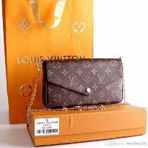 مصمم الطباعة 3 في 1 سلسلة حقيبة المرأة محفظة بطاقة crossbody محفظة الكتف رسول محافظ حقائب اليدLV.لويسأكياسفيتون11.