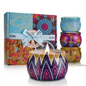 Scented Candles Gift Set Soy Portable Travel Tin Candle Put into Fragrance Essential Oils For Stress Relief Aromatherapy Bath FWE9833