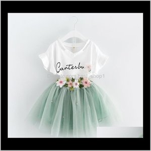 Sets Summer Girls Dress Set Baby Kids Letters Cotton Tshirt Embroidery Flower Lace Tulle Skirt 2Pcs Clothing Suit Children Outfits 7Ss Qia2D
