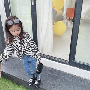 INS Quality Summer New Kids Girls Tshirt Leopard Long Sleeve Cotton Tees Spring Children Boutique Cloths Cute Girls T-shirts 305 Z2
