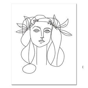Nordic Soyut Hat Sanat Resimlerinde Seksi Kadın Vücut Çıplak Duvar Tuval Boyama Çizim Posterler Livingroom OWD6235 için Dekorasyon Baskılar