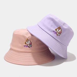 female summer cute cartoon Unicorn fisherman's male Fashion student letter embroidery basin tide sun Hat