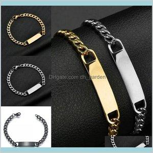 Cuff Bracelets Jewelry Unique Design Mens Stainless Steel Exquisite Gold Sier Black Color Bent Dog Tag Bangle Bracelet Charm Drop Deli