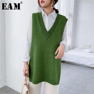 [EAM] Verde amarillo Gran tamaño de punto suéter de tejido suelto ajuste con cuello en v mangas sin mangas mujeres jerseys nueva moda otoño invierno 2020 1y2111