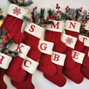 Christmas Knitting Snowflake Letter Stocking Xmas Tree Pendant Candy Gift Sock Bag Festival Party Decor Home Desktop Ornaments GWB10583