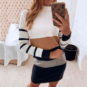 Sweaters Autumn Ladies fashion color matching striped long-sleeved round neck long casual shirt women