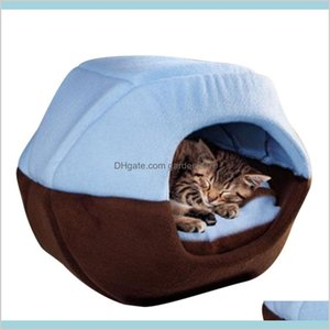 Cat Beds & Furniture Supplies Pet Home Garden Winter Dog Bed House Foldable Soft Warm Animal Puppy Cave Sleeping Mat Pad Nest Kennel L