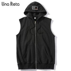 Men's Vests Una Reta Hip Hop Vest Men Sleeveless Men's Jacket With Hooded Streetwear Plus Size Solid