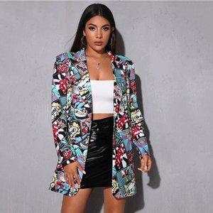 White Human Head Printing Blazer Women Jacket Vintage Plus Size Elegant Lady Coat Spring Fall Fashion Streetwear USA Style Women's Suits & B