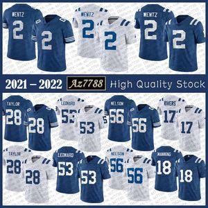 Ind 2 Carson Wentz Mens Football Jersey 53 Darius Leonard 56 Quenton Nelson 28 Jonathan Taylor 17 Philip Rivers 18 Peyton Manning Alta Qualidade Costura