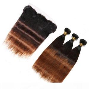 # 1B 4 30 Moyen Auburn Ombre Pervian Vierge Vierge Human Hair Bundle offres avec frontale 3tone ombre ombre 13x4 dentelle fermeture frontale avec tisseries