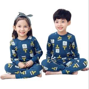 Kids Sleepwear baby girl spring cotton sets boys Homewear Pajamas children Pyjamas Nightwear 2-13Y unisex teenage clothes 210915