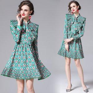2021 взлетно-посадочная полоса напечатанные рюшиные лук платье роскошный дизайнер с длинным рукавом изделка шеи тонкие голубые дамы плиссированные платья осенью зима вечеринки офис праздник женщина одежда