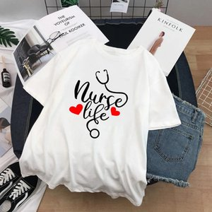 Ropa De Mujer 2021 Life Letter Print Woman Tshirts Plus Size Around Neck Oversized T Shirt Gift For Practitioner Women's T-Shi T-Shirt