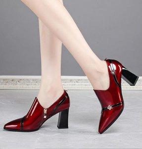 Sonbahar Ayakkabı Kadın Yüksek Topuklu Sandalet kadın Pompaları Yumuşak Patent Deri Ayakkabı Kalın Topuk Moda Sivri Burun Derin Siyah Şarap-Kırmızı