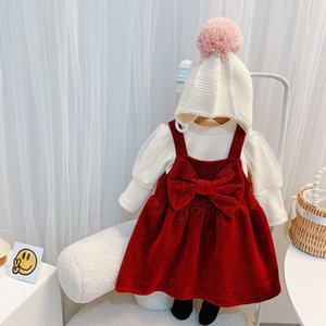 Girls big Bows birthday party clothes sets christmas children sequins lace puff sleeve bottoming shirt+suspender dress 2pcs winter kids velvet warm outfits Q2747