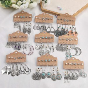 Silver Beans Earrings Set Vintage Ethnic 6-pair   Sets Small Round Sun Moon Sheet Snake White Green Stone Long Wood Bride Water Drop