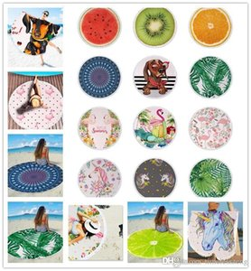 70 Designs Microfiber Round Shawl Mandala Cover Fruit Print Tassel Beach Blanket Bath Towel Flamingo Tapestry Yoga Mat Rug DMJH