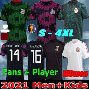 النساء + الرجال 2021 كرة القدم الفانيلة concacaf الذهب كأس camisetas 2122 المكسيك المشجعين المشجعين نسخة chicharito lozano دوس سانتوس القومي الاطفال كرة القدم القمصان