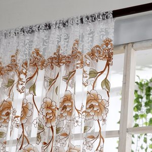 Home Office Window Curtain Flower Print Divider Tulle Voile Drape Panel Sheer Scarf Valances Curtains Home Decor ZHL1553