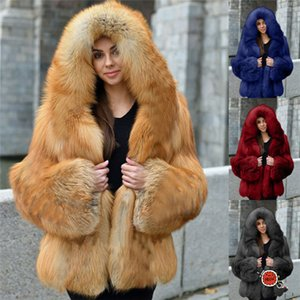 Faux Solid Color Womens Fur Coats Long Sleeve Patchwork Hooded Woman Outerwear Autumn Winter Fashion Casual Plus Size Women Clothes