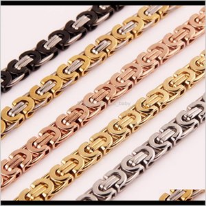 Chains Titanium Cuba Chain, Auniquestyle Mens Necklace Byzantine Box Chain Stainless Steel Multi Color Personalized Vintage Jewelry 8M 6Mg19