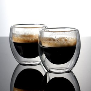 Wine Glasses 6 Sets Of 80Ml Double-Layer Hollow Glass Coffee Cup Heat Cold Resistant For Drinking Milk Tea Cups