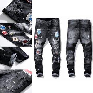 Mens Badge Rips Stretch Designer Jeans Distressed Ripped Biker Slim Fit Washed Motorcycle Denim Men s Hip Hop Fashion Man Pants 2021