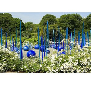 Garden Decoration Murano Glass Standing Sculpture For El Art Floor Lamp Blue Hand Blown Lamps
