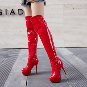 13cm super high heel over knee warm leather zipper sexy steel pipe dance boots waterproof platform Brand Men Women Sneakers