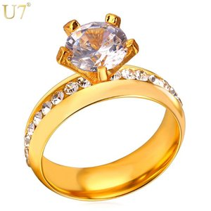 Wedding Rings U7 Brand Fashion Engagement For Women Jewelry Gold Color Stainless Steel Rhinestone Crystal Gift R441