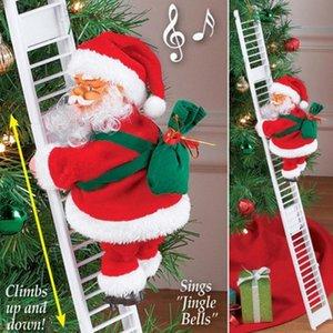 2022 Presente brinquedo de Natal elétrico escalada escada Santa Claus ornamento decoração para casa Christma árvore pendurado decoração com música