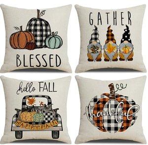 Fall Pillow Case 45*45cm Thanksgiving Plaid Gnomes Pumpkin Outdoor Decorative Throw Pillow-Covers Autumn Cushion Halloween SN2791